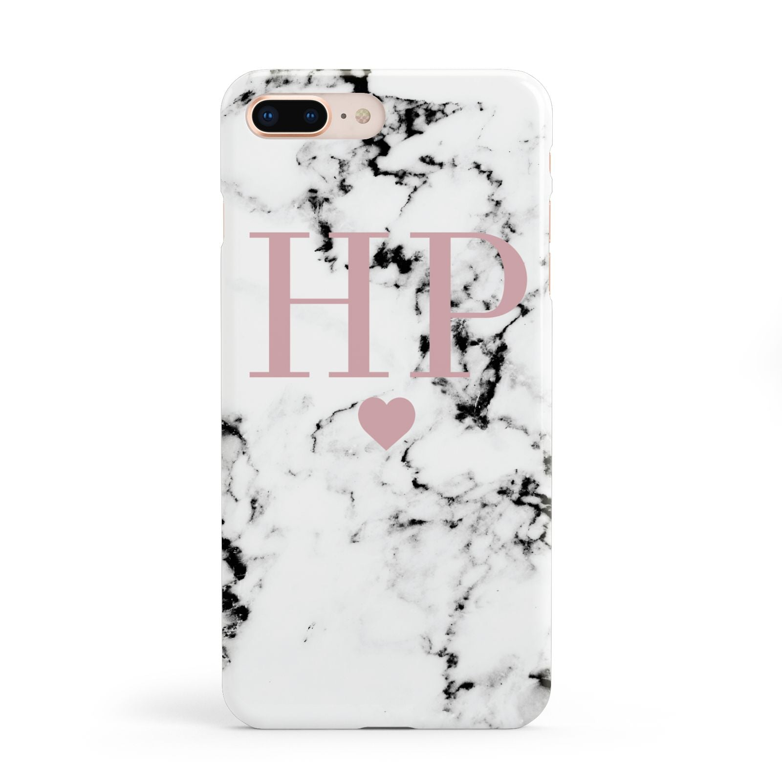 Marble Blush Pink Heart Personalised Apple iPhone 8 Plus Case