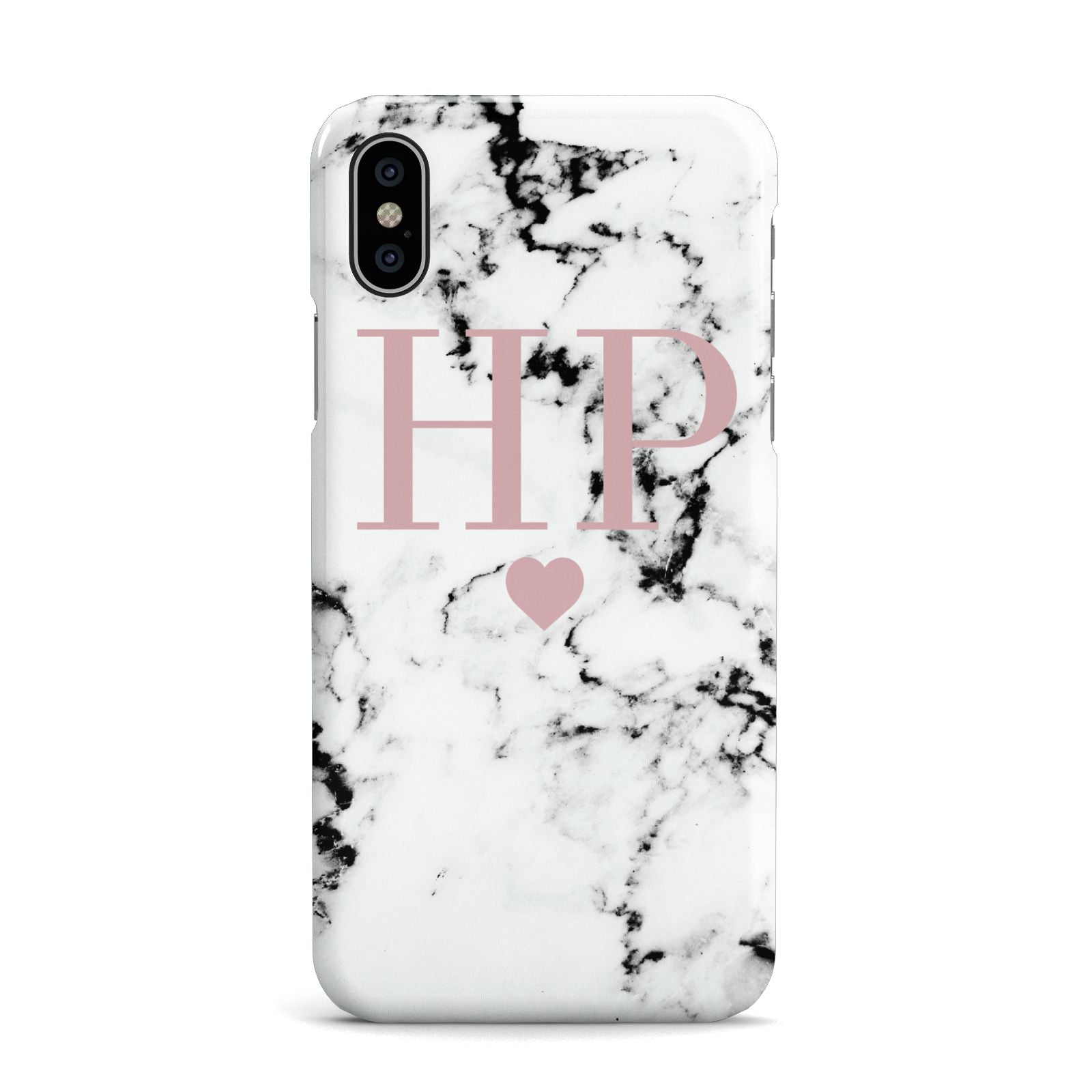 Marble Blush Pink Heart Personalised Apple iPhone X Case