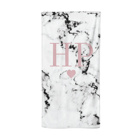 Marble Blush Pink Heart Personalised Beach Towel
