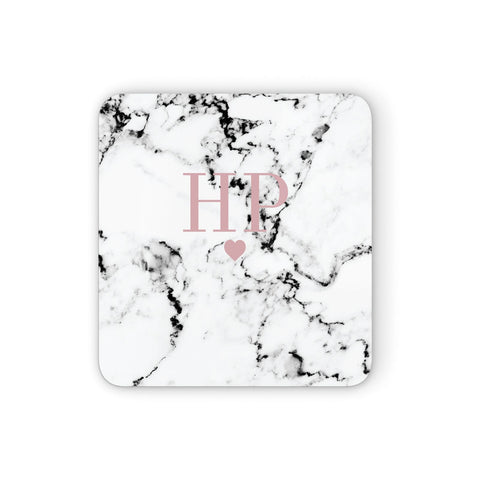 Marble Blush Pink Heart Personalised Coasters set of 4