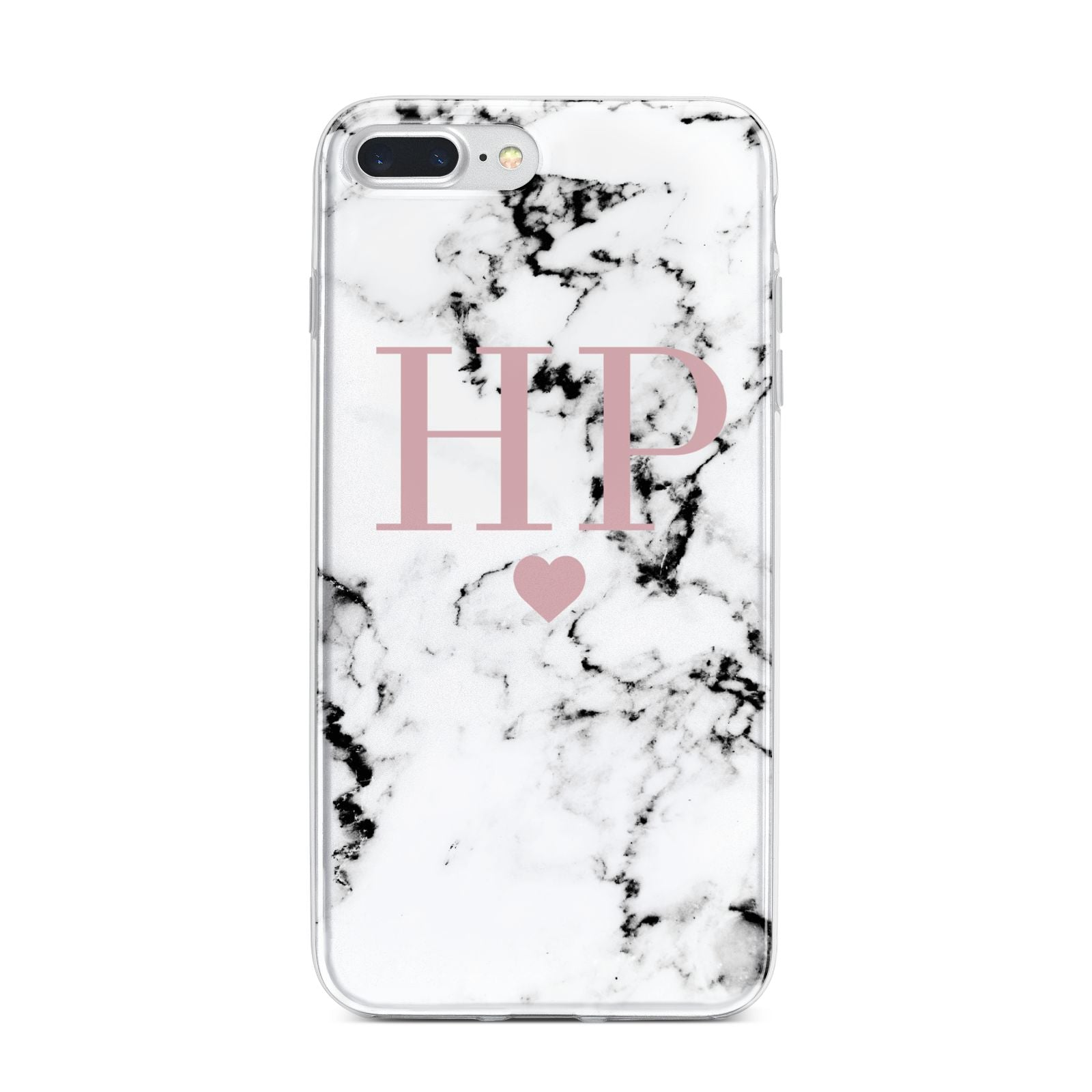 Marble Blush Pink Heart Personalised iPhone 7 Plus Bumper Case on Silver iPhone