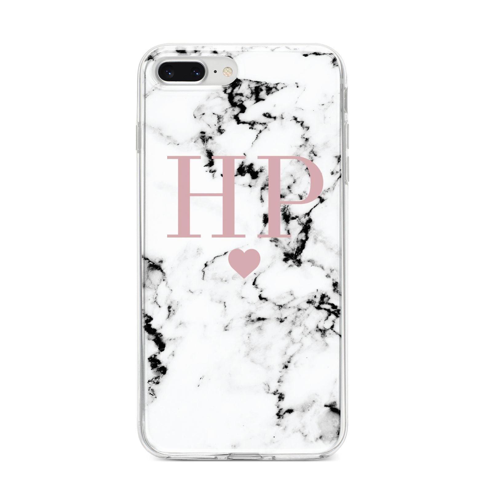 Marble Blush Pink Heart Personalised iPhone 8 Plus Bumper Case on Silver iPhone