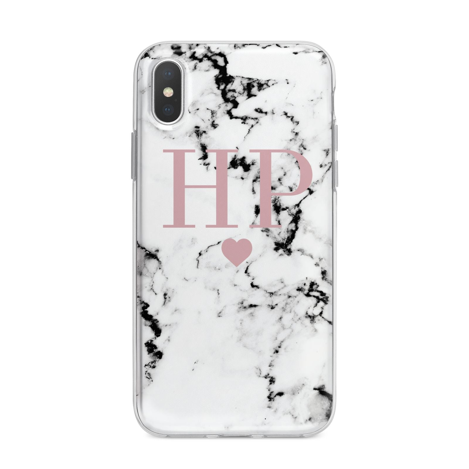Marble Blush Pink Heart Personalised iPhone X Bumper Case on Silver iPhone Alternative Image 1