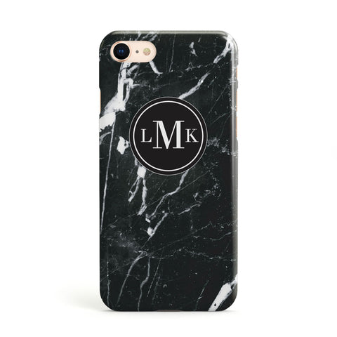 Marble Custom Initials Circle Apple iPhone Case