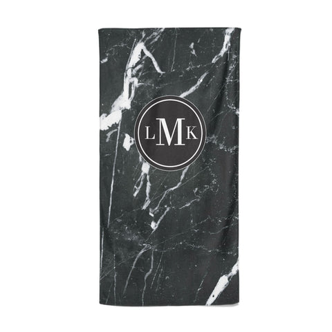 Marble Custom Initials Circle Beach Towel