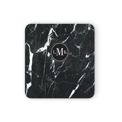 Marble Custom Initials Circle Coasters set of 4