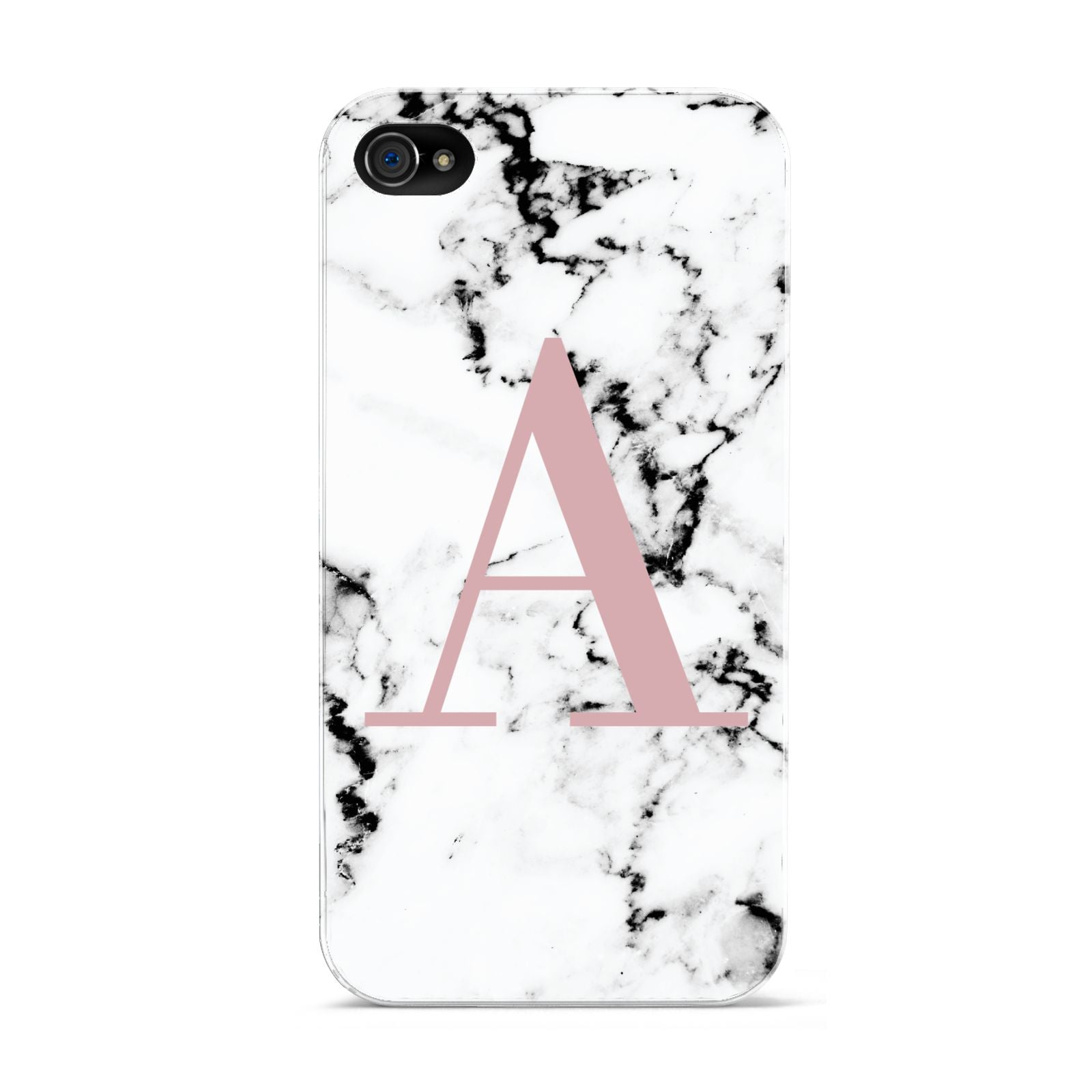 Marble Effect Pink Initial Personalised Apple iPhone 4s Case