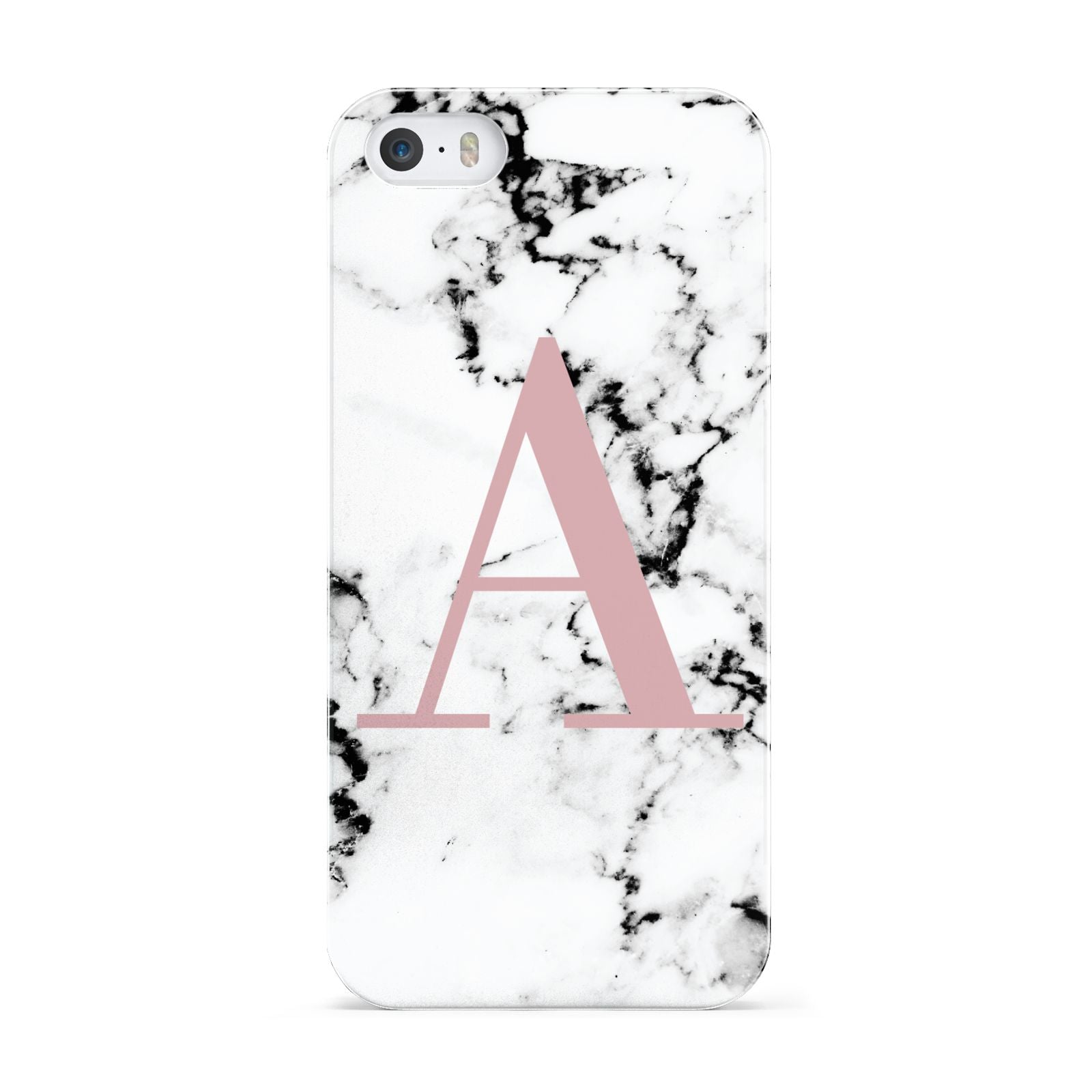 Marble Effect Pink Initial Personalised Apple iPhone 5 Case