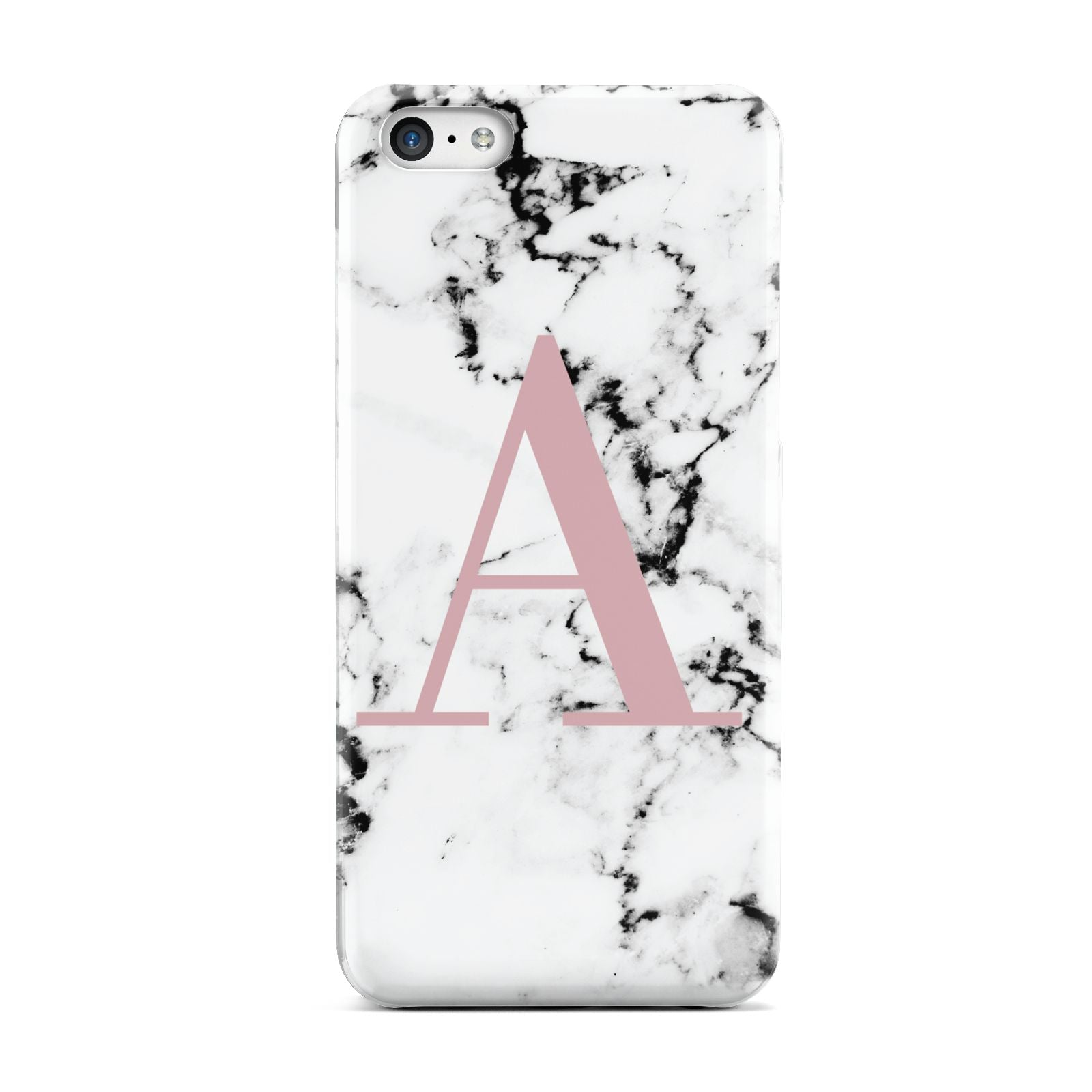 Marble Effect Pink Initial Personalised Apple iPhone 5c Case