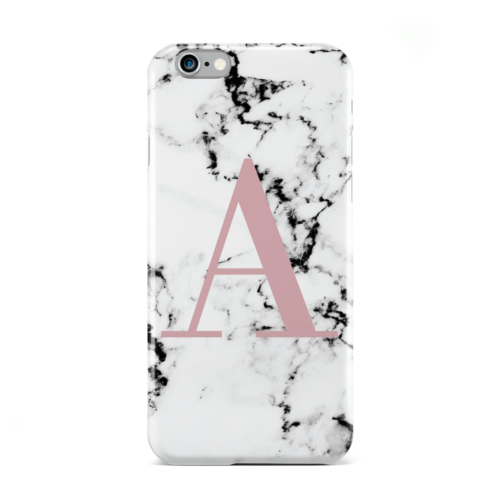 Marble Effect Pink Initial Personalised Apple iPhone 6 Case