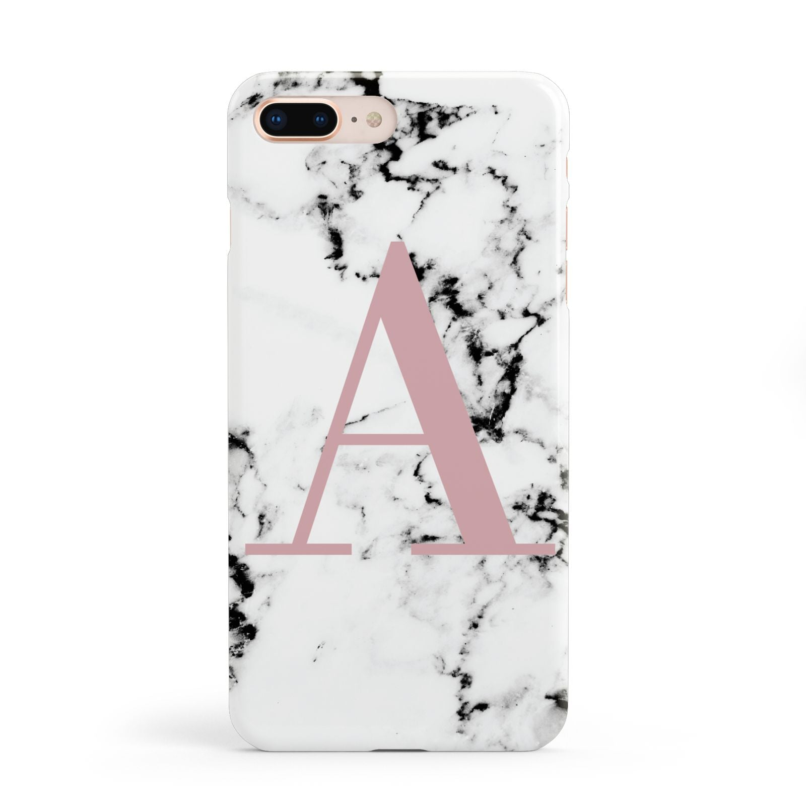 Marble Effect Pink Initial Personalised Apple iPhone 8 Plus Case
