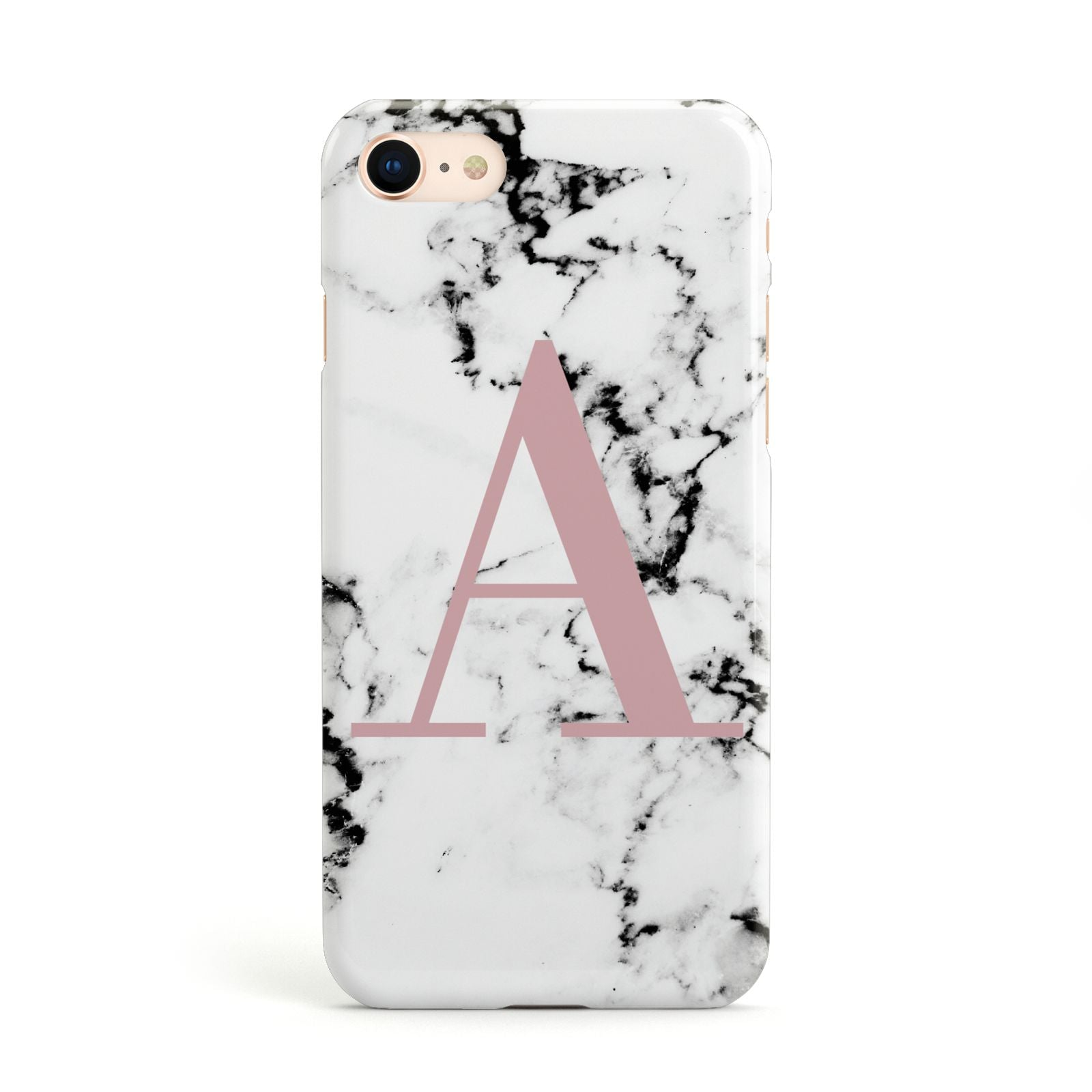 Marble Effect Pink Initial Personalised Apple iPhone Case