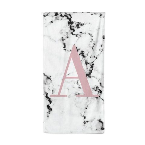 Marble Effect Pink Initial Personalised Beach Towel