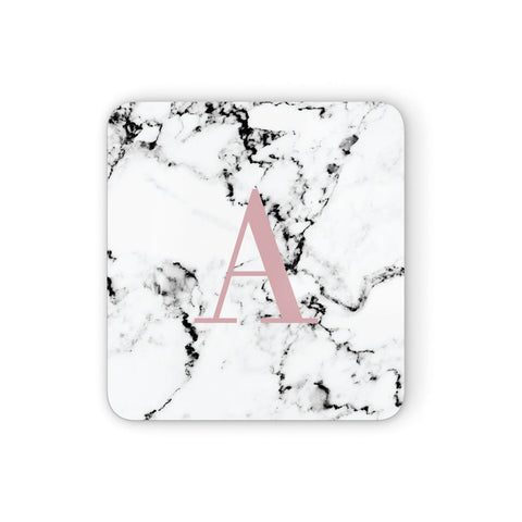 Marble Effect Pink Initial Personalised Coasters set of 4