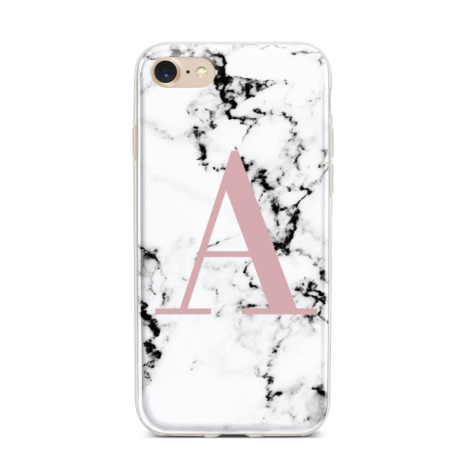 Marble Effect Pink Initial Personalised iPhone 7 Bumper Case on Gold iPhone