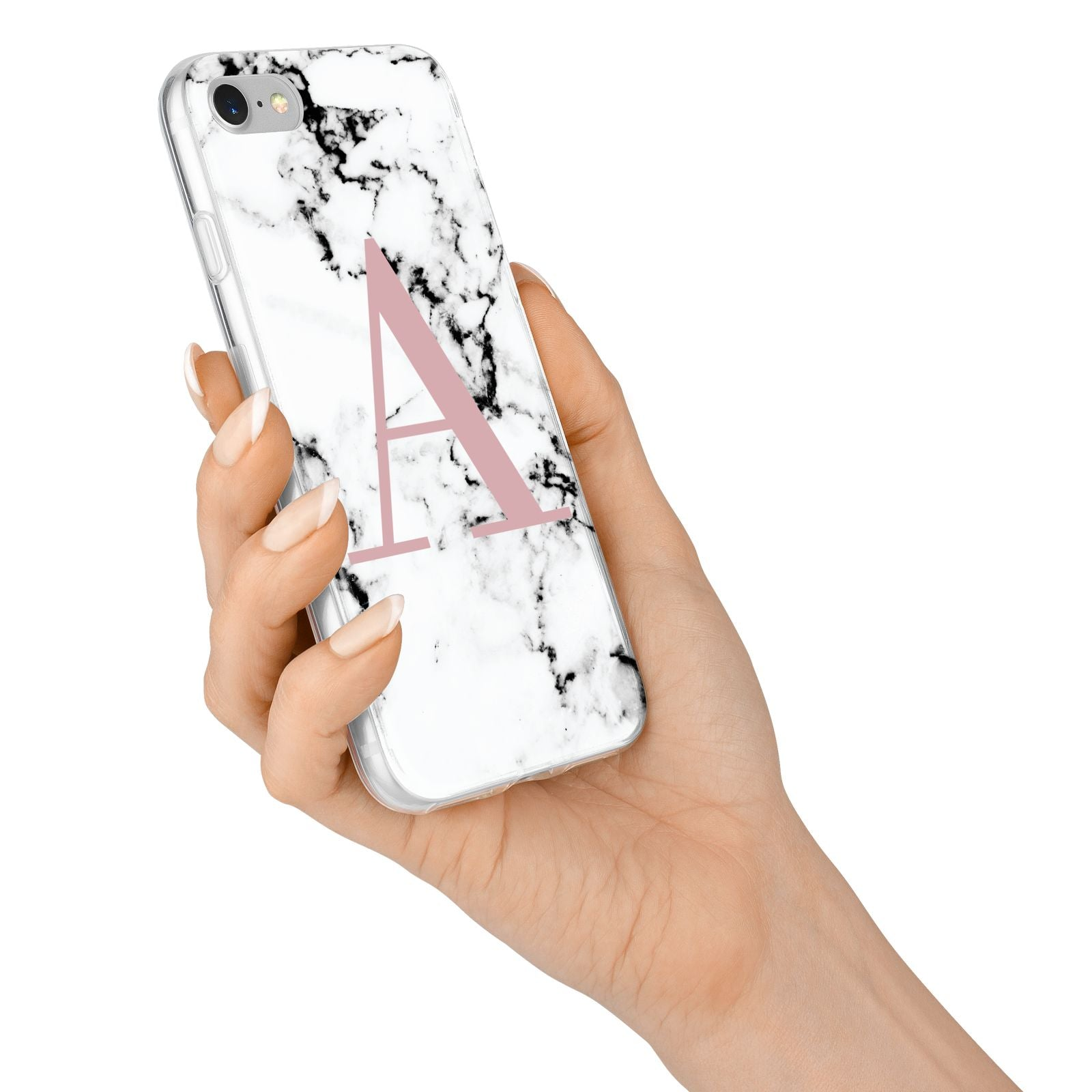 Marble Effect Pink Initial Personalised iPhone 7 Bumper Case on Silver iPhone Alternative Image