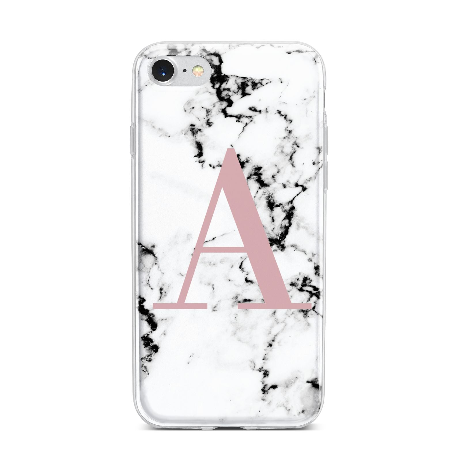 Marble Effect Pink Initial Personalised iPhone 7 Bumper Case on Silver iPhone