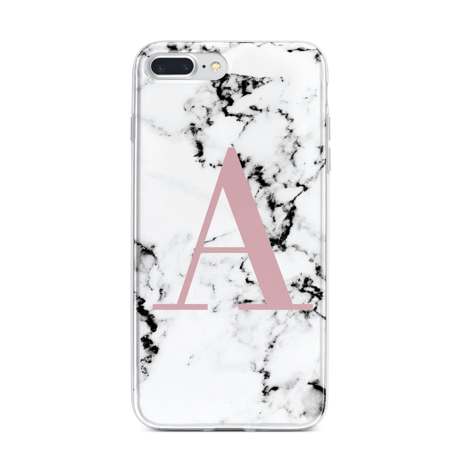 Marble Effect Pink Initial Personalised iPhone 7 Plus Bumper Case on Silver iPhone