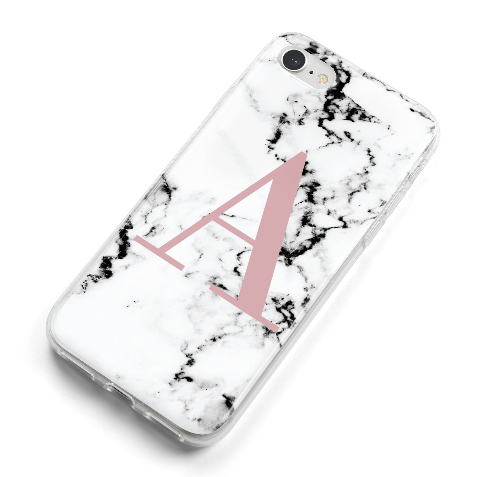 Marble Effect Pink Initial Personalised iPhone 8 Bumper Case on Silver iPhone Alternative Image