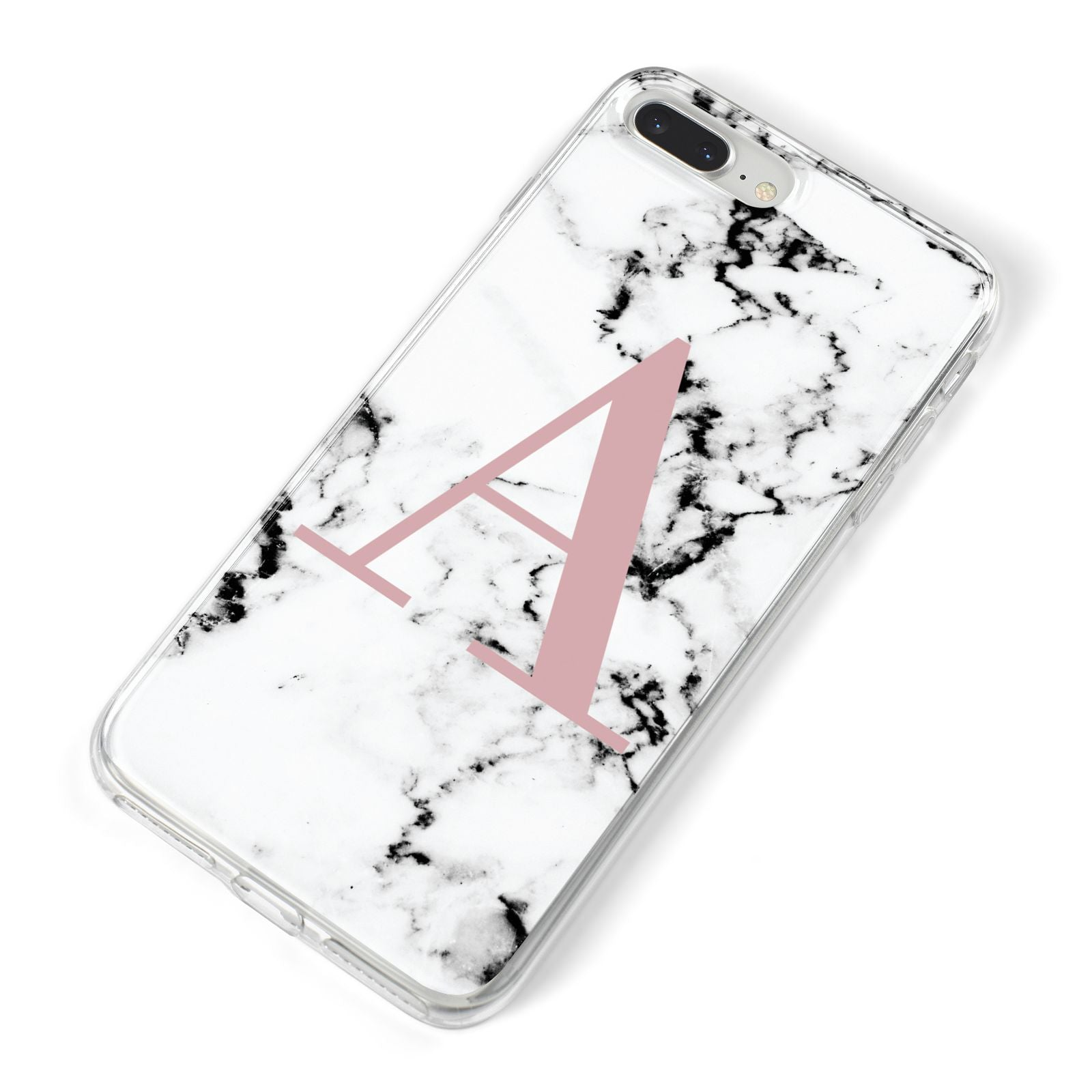 Marble Effect Pink Initial Personalised iPhone 8 Plus Bumper Case on Silver iPhone Alternative Image