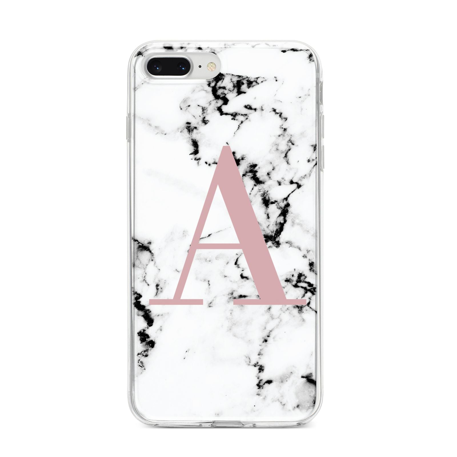 Marble Effect Pink Initial Personalised iPhone 8 Plus Bumper Case on Silver iPhone