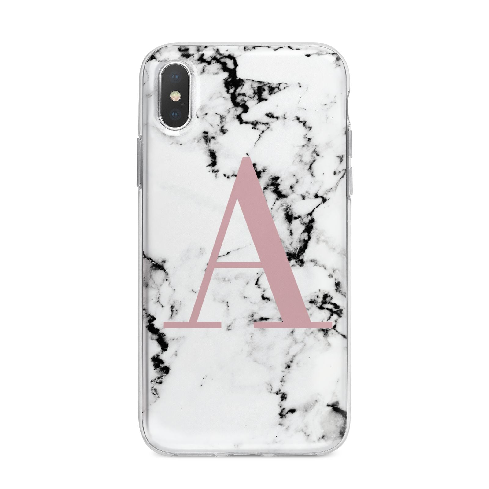 Marble Effect Pink Initial Personalised iPhone X Bumper Case on Silver iPhone Alternative Image 1