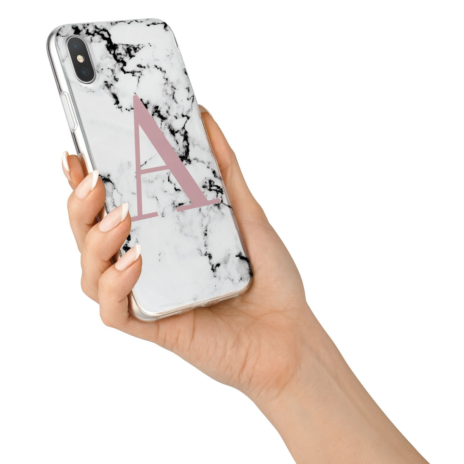 Marble Effect Pink Initial Personalised iPhone X Bumper Case on Silver iPhone Alternative Image 2