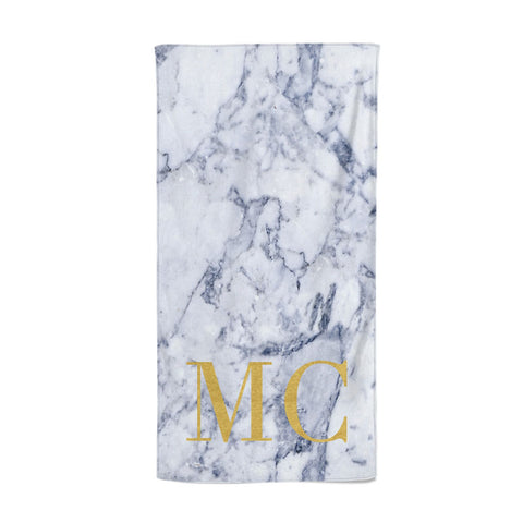Marble Gold Initial Personalised Beach Towel