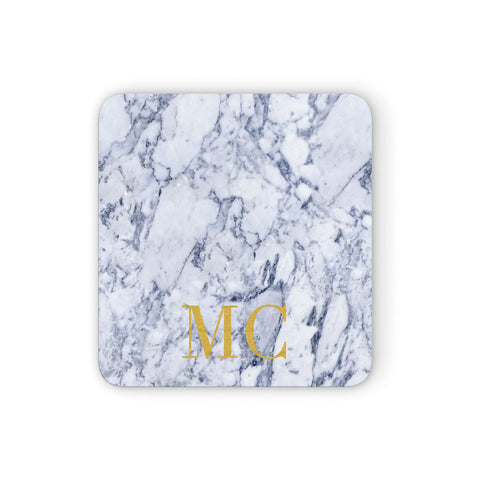 Marble Gold Initial Personalised Coasters set of 4