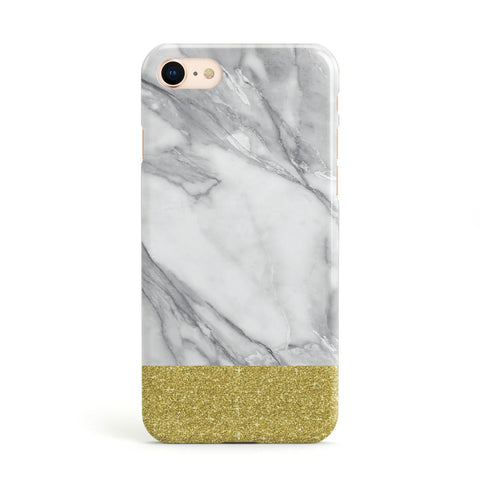 Marble Grey White Gold Glitter Apple iPhone Case