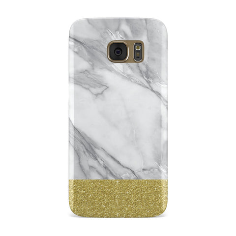 Marble Grey White Gold Glitter Samsung Galaxy Case