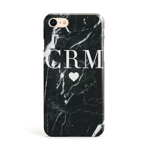 Marble Heart Initials Personalised Apple iPhone Case