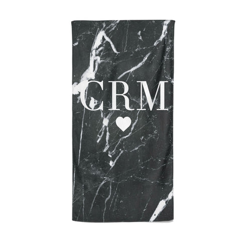 Marble Heart Initials Personalised Beach Towel