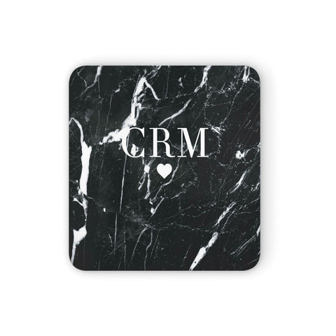 Marble Heart Initials Personalised Coasters set of 4