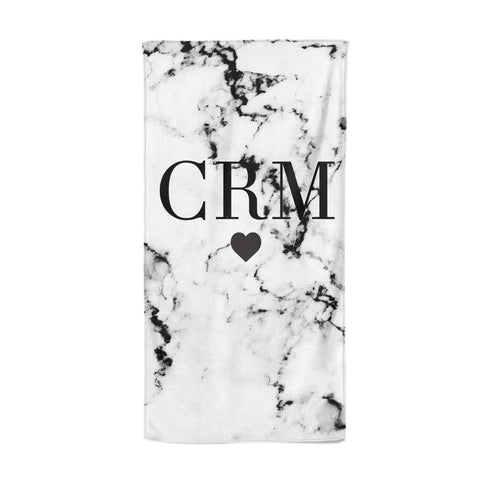 Marble Heart Personalised Initials Beach Towel