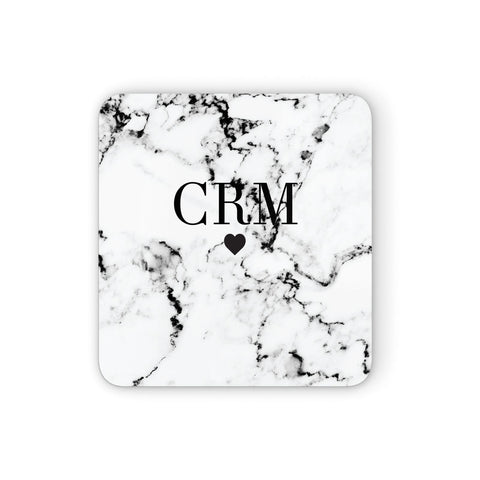 Marble Heart Personalised Initials Coasters set of 4