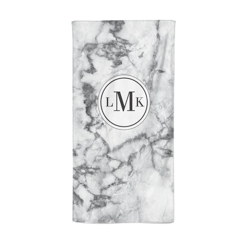 Marble Initials Circle Personalised Beach Towel