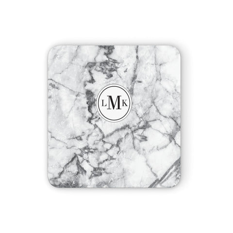 Marble Initials Circle Personalised Coasters set of 4