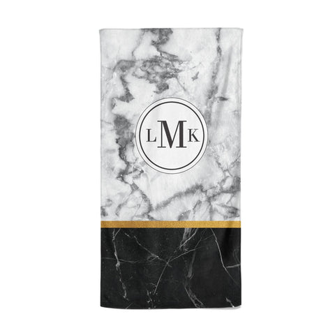 Marble Initials Geometric Personalised Beach Towel