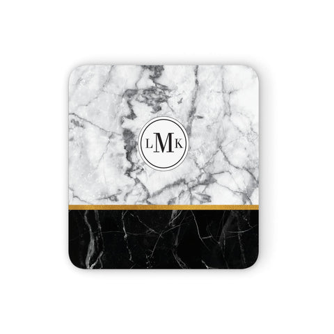 Marble Initials Geometric Personalised Coasters set of 4