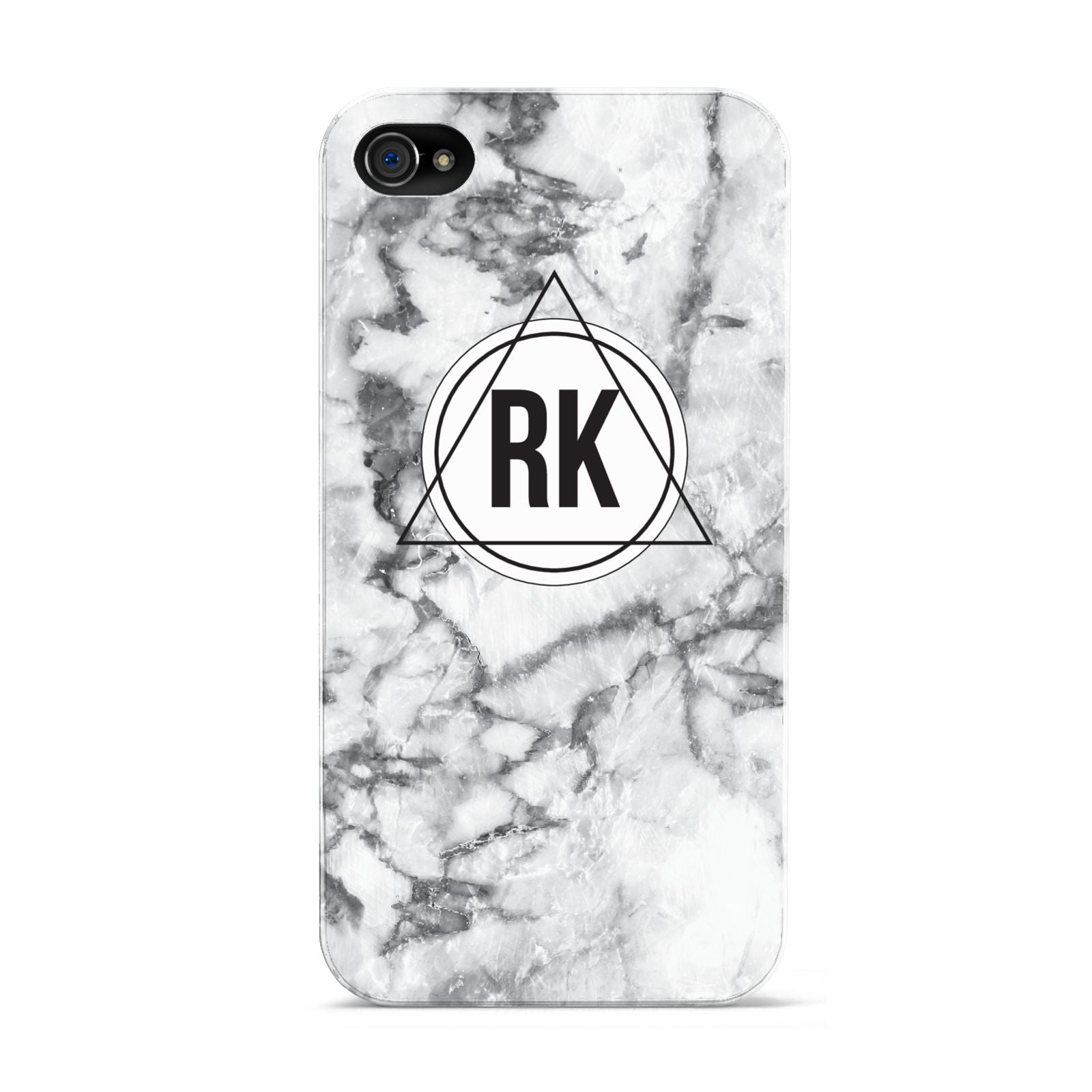Marble Initials Triangle Personalised Apple iPhone 4s Case
