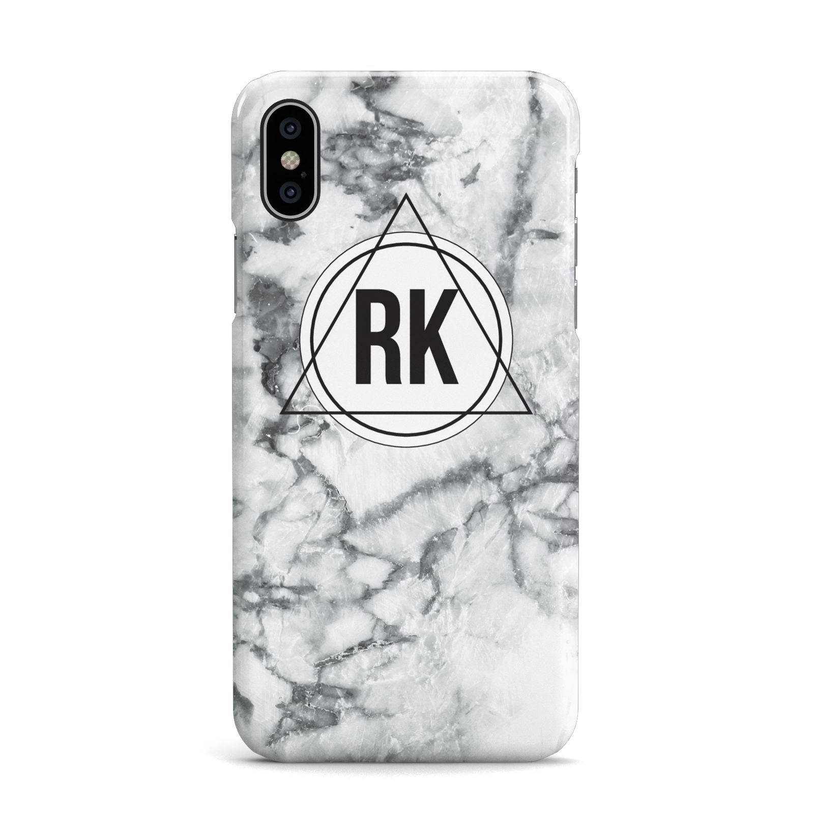 Marble Initials Triangle Personalised Apple iPhone X Case