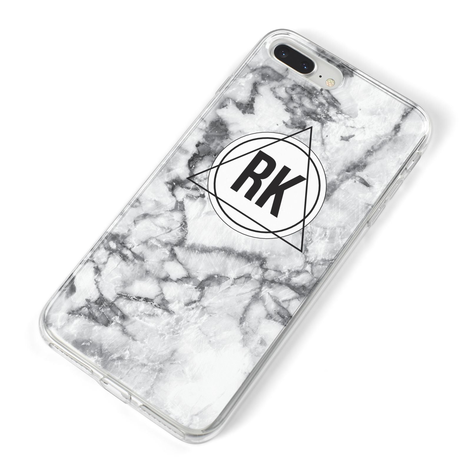 Marble Initials Triangle Personalised iPhone 8 Plus Bumper Case on Silver iPhone Alternative Image