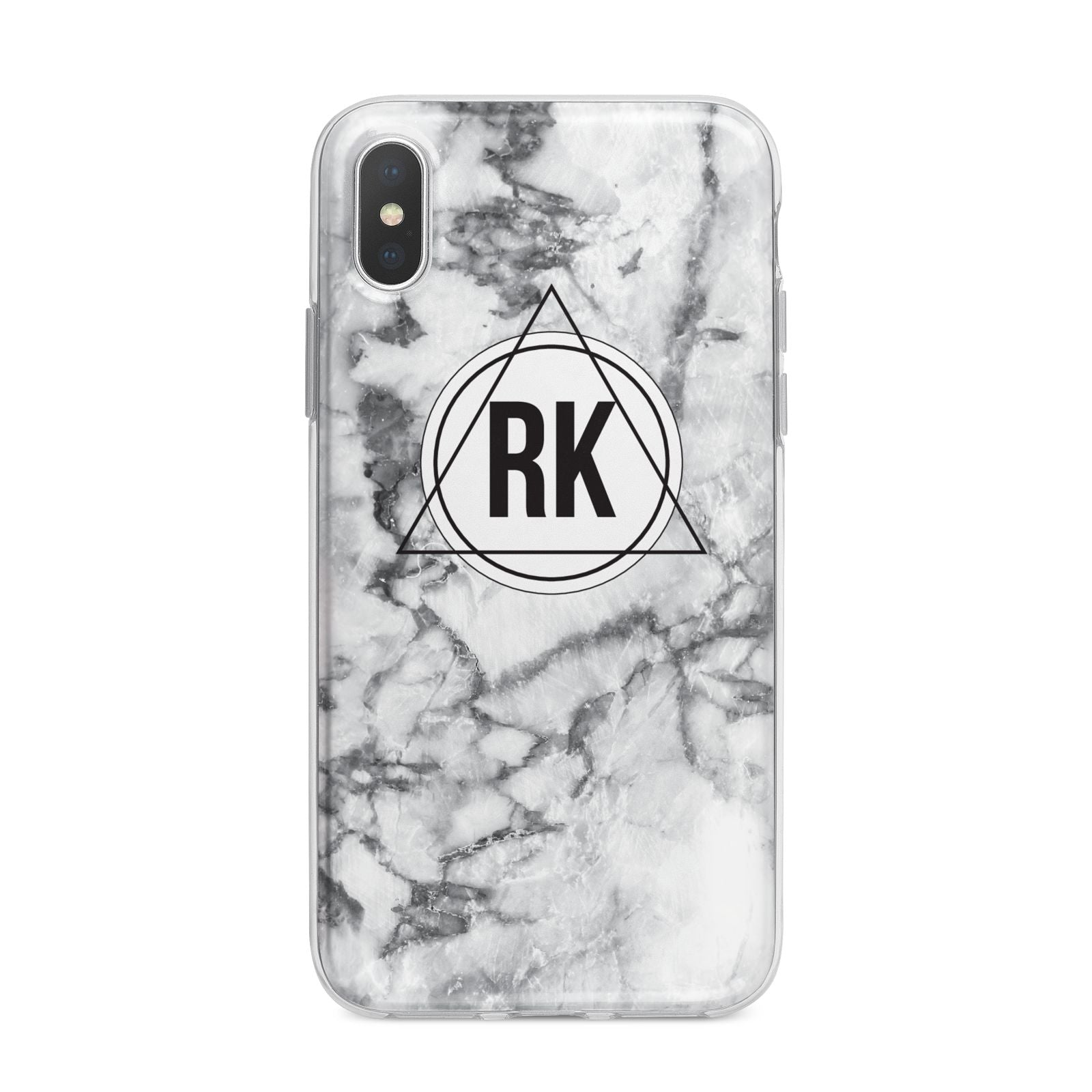 Marble Initials Triangle Personalised iPhone X Bumper Case on Silver iPhone Alternative Image 1
