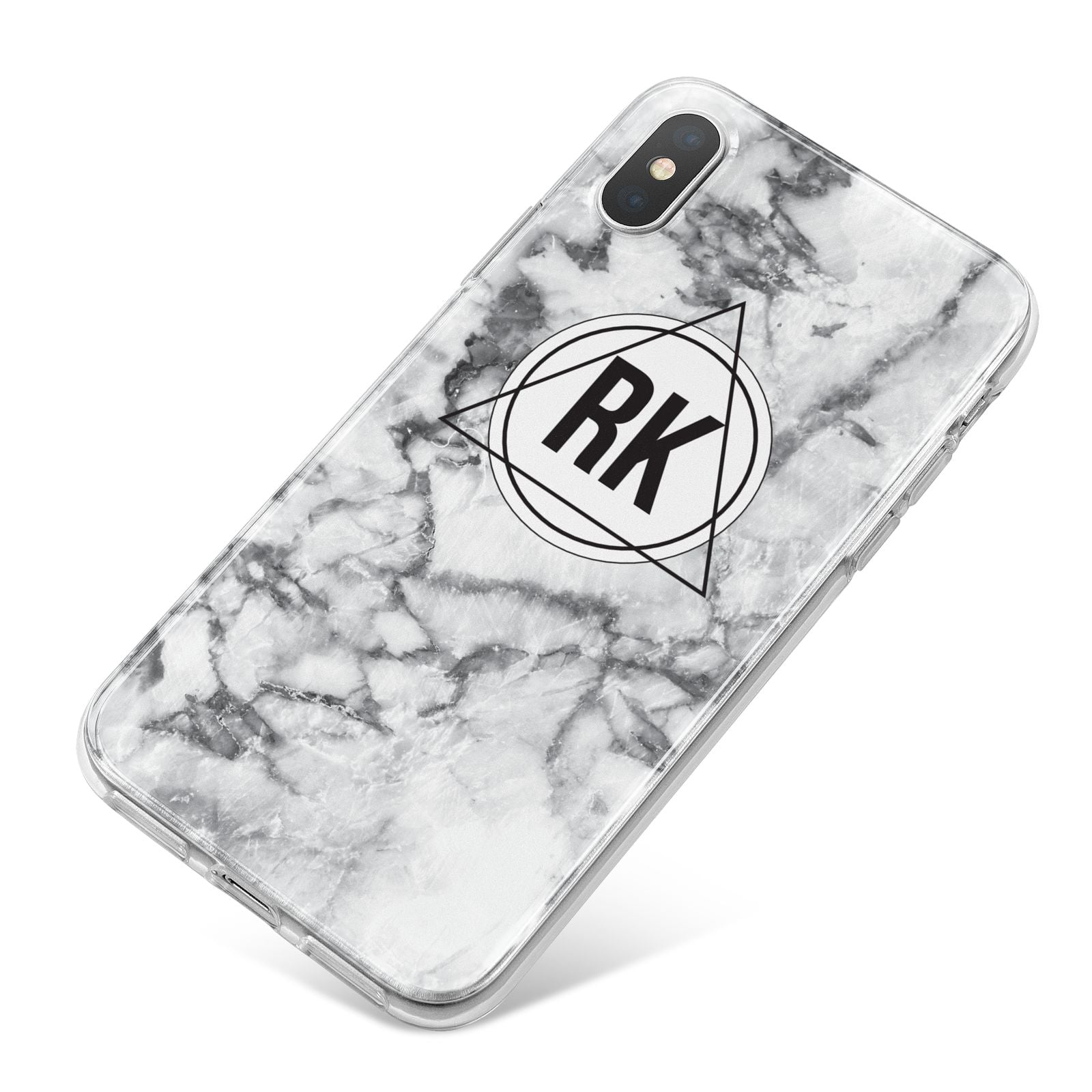 Marble Initials Triangle Personalised iPhone X Bumper Case on Silver iPhone