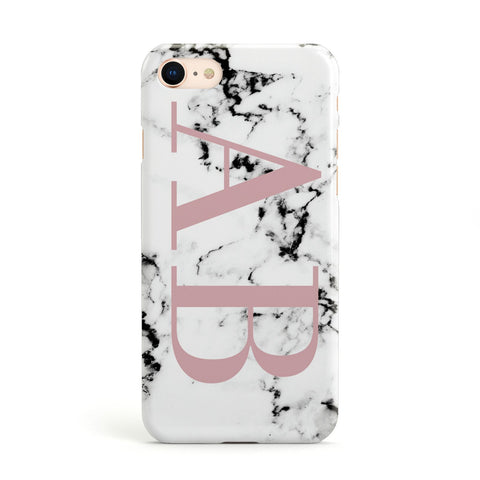 Marble Pattern Pink Initials Personalised Apple iPhone Case