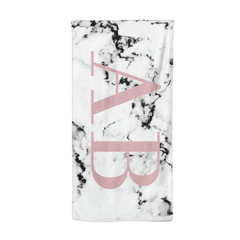 Marble Pattern Pink Initials Personalised Beach Towel