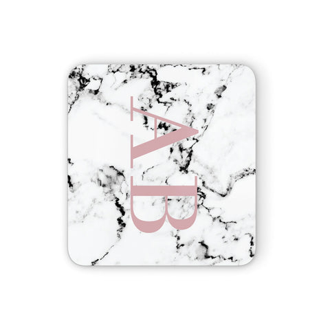 Marble Pattern Pink Initials Personalised Coasters set of 4