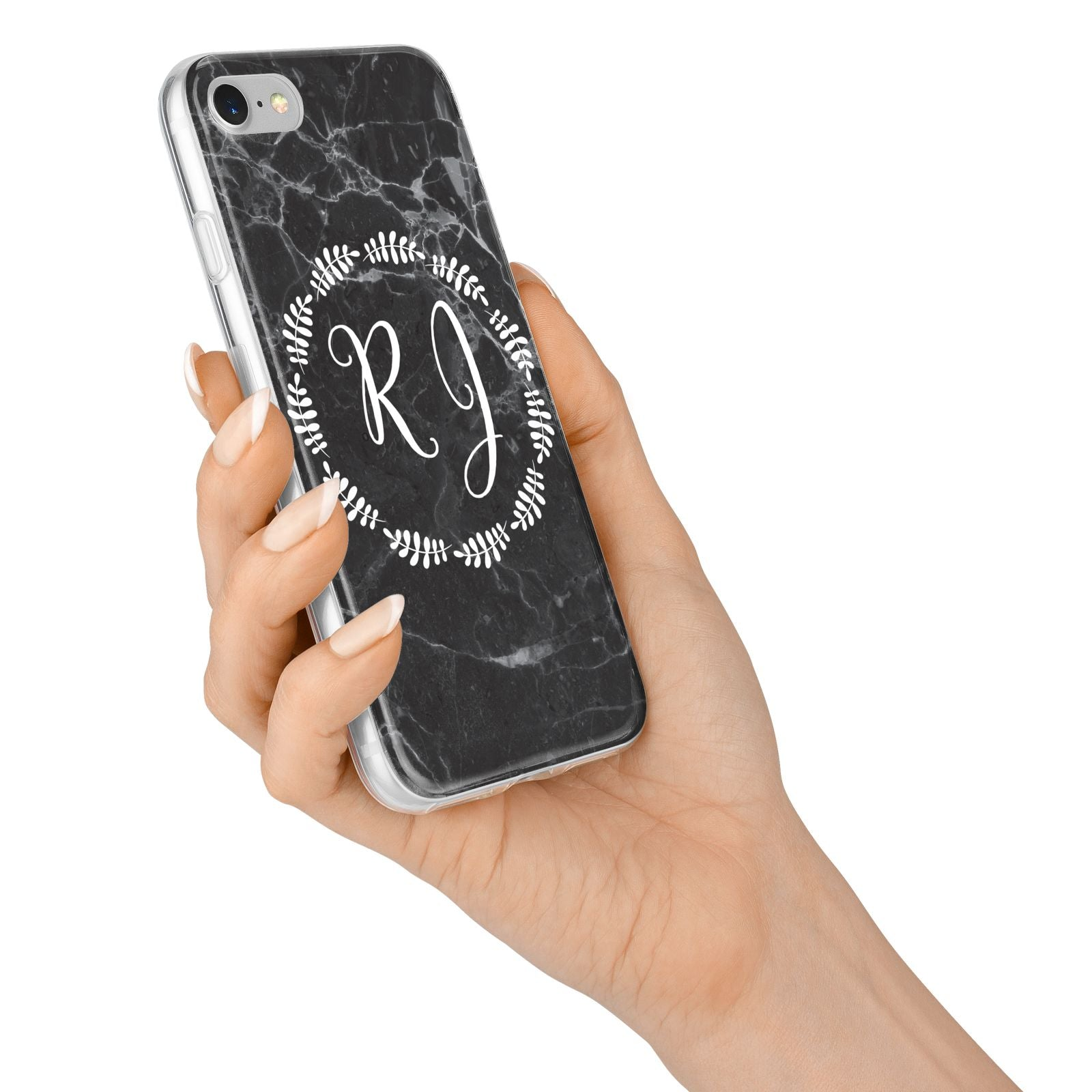 Marble Personalised Initials iPhone 7 Bumper Case on Silver iPhone Alternative Image