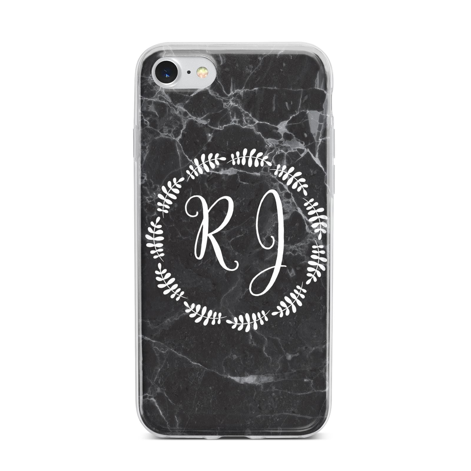 Marble Personalised Initials iPhone 7 Bumper Case on Silver iPhone
